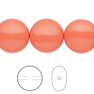 pearl, swarovski crystals, coral, 16mm coin (5860). sold per pkg of 5.