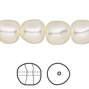 pearl, swarovski crystals, cream, 12mm baroque (5840). sold per pkg of 100.