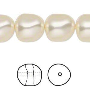 pearl, swarovski crystals, cream, 14mm baroque (5840). sold per pkg of 50.