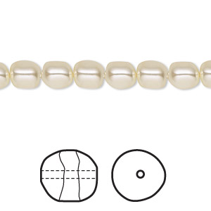 pearl, swarovski crystals, cream, 6mm baroque (5840). sold per pkg of 10.
