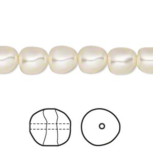 pearl, swarovski crystals, cream, 8mm baroque (5840). sold per pkg of 250.