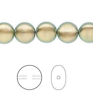 pearl, swarovski crystals, crystal iridescent green, 10mm coin (5860). sold per pkg of 10.