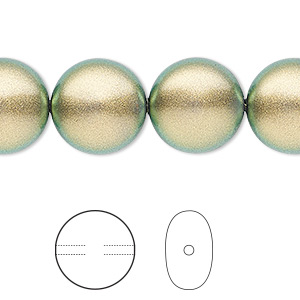 pearl, swarovski crystals, crystal iridescent green, 14mm coin (5860). sold per pkg of 10.