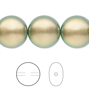 pearl, swarovski crystals, crystal iridescent green, 16mm coin (5860). sold per pkg of 25.