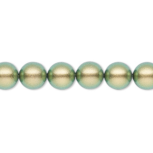 pearl, swarovski crystals, crystal iridescent green, 8mm round (5810). sold per pkg of 250.