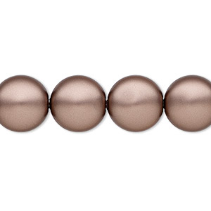 pearl, swarovski crystals, crystal passions, velvet brown, 12mm coin (5860). sold per pkg of 10.