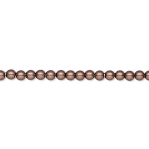 pearl, swarovski crystals, crystal passions, velvet brown, 3mm round (5810). sold per pkg of 100.