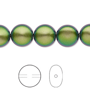 pearl, swarovski crystals, crystal scarabaeus green, 12mm coin (5860). sold per pkg of 10.