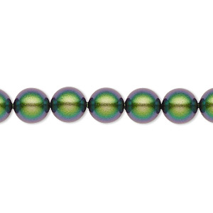 pearl, swarovski crystals, crystal scarabaeus green, 8mm round (5810). sold per pkg of 250.
