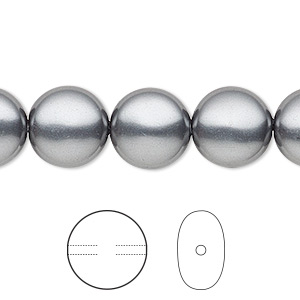 pearl, swarovski crystals, dark grey, 12mm coin (5860). sold per pkg of 100.