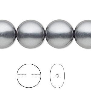 pearl, swarovski crystals, dark grey, 14mm coin (5860). sold per pkg of 10.
