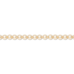 pearl, swarovski crystals, gold, 3mm round (5810). sold per pkg of 100.