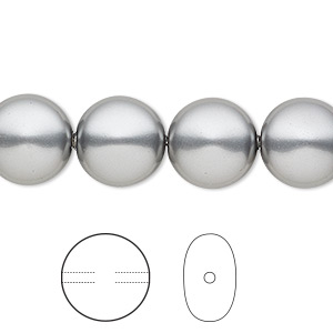 pearl, swarovski crystals, grey, 12mm coin (5860). sold per pkg of 100.