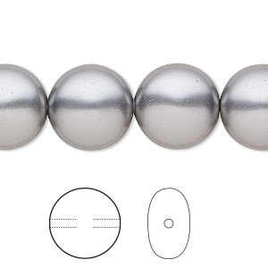 pearl, swarovski crystals, grey, 14mm coin (5860). sold per pkg of 10.