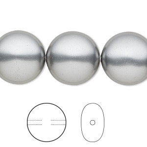 pearl, swarovski crystals, grey, 16mm coin (5860). sold per pkg of 25.