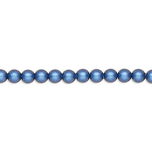 pearl, swarovski crystals, iridescent dark blue pearl, 4mm round (5810). sold per pkg of 100.