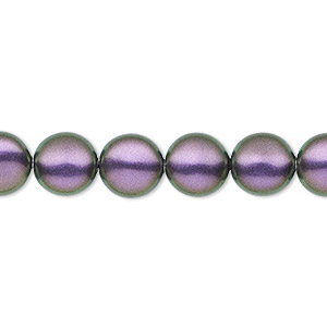 pearl, swarovski crystals, iridescent purple, 10mm coin (5860). sold per pkg of 100.