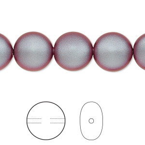 pearl, swarovski crystals, iridescent red, 12mm coin (5860). sold per pkg of 100.