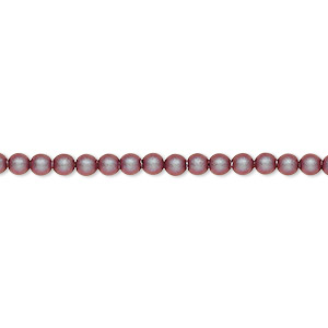 pearl, swarovski crystals, iridescent red, 3mm round (5810). sold per pkg of 100.