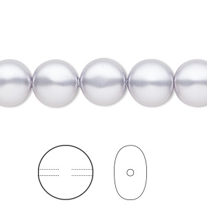pearl, swarovski crystals, lavender, 10mm coin (5860). sold per pkg of 10.