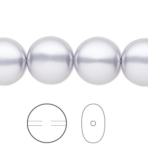 pearl, swarovski crystals, lavender, 14mm coin (5860). sold per pkg of 50.