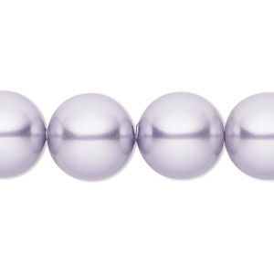 pearl, swarovski crystals, lavender, 14mm round with 1.3-1.5mm hole (5811). sold per pkg of 50.