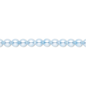 pearl, swarovski crystals, light blue, 4mm round (5810). sold per pkg of 100.