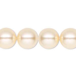 pearl, swarovski crystals, light gold, 12mm round (5810). sold per pkg of 10.