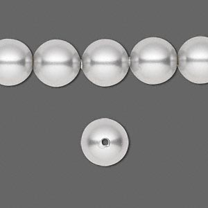 pearl, swarovski crystals, light grey, 10mm round with 1.3-1.5mm hole (5811). sold per pkg of 100.