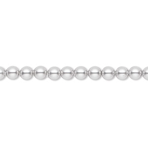 pearl, swarovski crystals, light grey, 4mm round (5810). sold per pkg of 100.