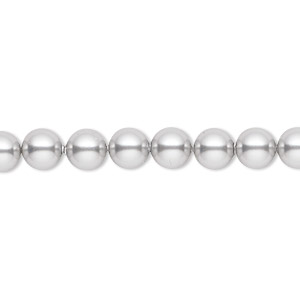 pearl, swarovski crystals, light grey, 6mm round (5810). sold per pkg of 50.