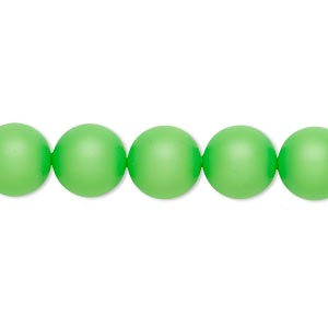 pearl, swarovski crystals, neon green, 10mm round (5810). sold per pkg of 25.