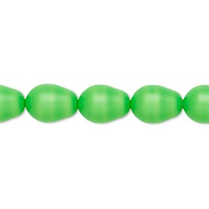 pearl, swarovski crystals, neon green, 11x8mm pear (5821). sold per pkg of 250.