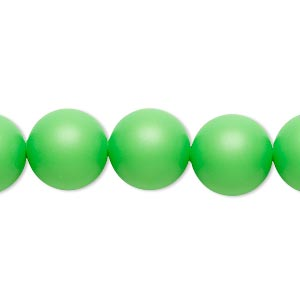 pearl, swarovski crystals, neon green, 12mm round with 1.3-1.5mm hole (5811). sold per pkg of 10.