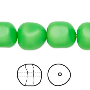 pearl, swarovski crystals, neon green, 14mm baroque (5840). sold per pkg of 10.