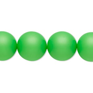 pearl, swarovski crystals, neon green, 14mm round with 1.3-1.5mm hole (5811). sold per pkg of 50.