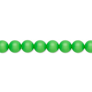 pearl, swarovski crystals, neon green, 6mm round (5810). sold per pkg of 50.