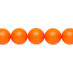 pearl, swarovski crystals, neon orange, 10mm round (5810). sold per pkg of 100.