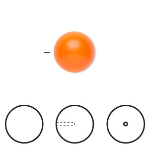 pearl, swarovski crystals, neon orange, 12mm half-drilled round (5818). sold per pkg of 2.