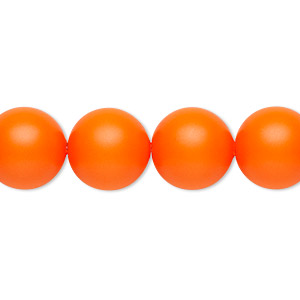 pearl, swarovski crystals, neon orange, 12mm round with 1.3-1.5mm hole (5811). sold per pkg of 100.