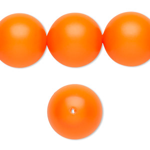 pearl, swarovski crystals, neon orange, 16mm round with 1.3-1.5mm hole (5811). sold per pkg of 25.