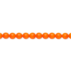 pearl, swarovski crystals, neon orange, 4mm round (5810). sold per pkg of 100.