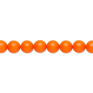 pearl, swarovski crystals, neon orange, 6mm round (5810). sold per pkg of 500.