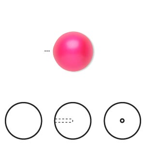 pearl, swarovski crystals, neon pink, 12mm half-drilled round (5818). sold per pkg of 2.