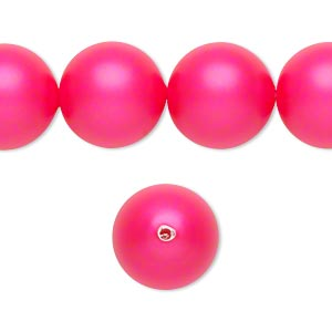 pearl, swarovski crystals, neon pink, 14mm round with 1.3-1.5mm hole (5811). sold per pkg of 10.