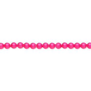 pearl, swarovski crystals, neon pink, 3mm round (5810). sold per pkg of 1,000.