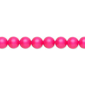 pearl, swarovski crystals, neon pink, 6mm round (5810). sold per pkg of 500.