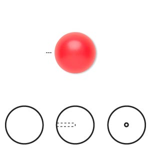 pearl, swarovski crystals, neon red, 12mm half-drilled round (5818). sold per pkg of 10.