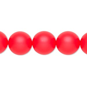 pearl, swarovski crystals, neon red, 12mm round with 1.3-1.5mm hole (5811). sold per pkg of 10.