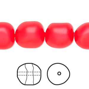pearl, swarovski crystals, neon red, 14mm baroque (5840). sold per pkg of 10.
